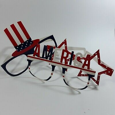 CELEBRATE Fourth Of July Red White and Blue Paper Glasses 3 designs total 12
