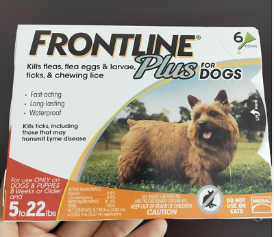 Frontline Plus  5-22lbs 6 Doses Packs for Control Small Dogs Flea and Tick