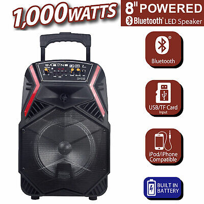 8 Professional Party Speaker Bass Led Portable Stereo Light Up Tailgate Loud