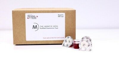 The Miracle Meal  100 Pre-filled Communion Cups with Juice - Wafer in box