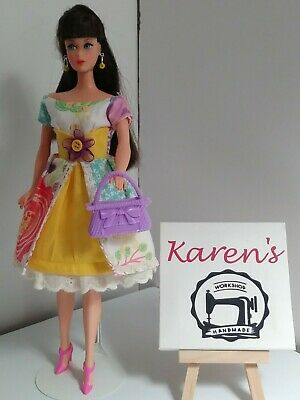 Vintage Style Outfit For Barbie Doll Ooak new Dress Purse and Earrings