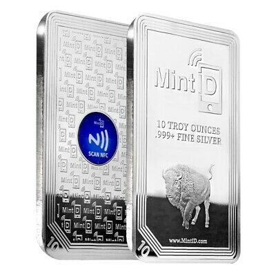 10 oz MintID Buffalo Silver Bar -999- Fine NFC Scan Authentication