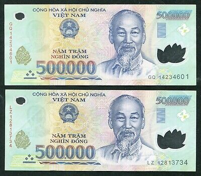 1 Million Vietnam Dong currency  2 x 500000 500000 dong  Used condition