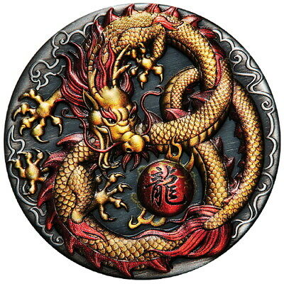 Tuvalu 2020 Golden Imperial Dragon 2 2 Oz Silver Color High Relief Antiqued
