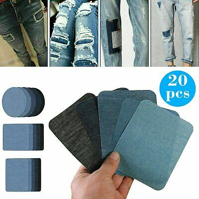 5 Colors DIY Iron on Denim Fabric Patches for Clothing Jeans Repair Kit(20pcs )
