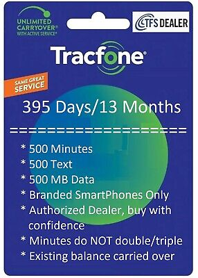 TracFone Service Extension 1- Year395 Days500mins500txt500MB Branded SmartPh