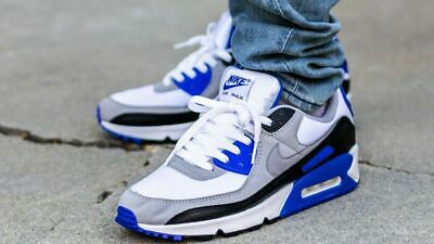 Nike Air Max 90 White Grey Blue CD0881-102 Running Shoes Mens Multi Sizes NEW