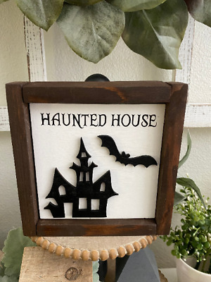 Haunted House Sign Halloween Sign  Wood SignTiered TrayRae Dunn Inspired