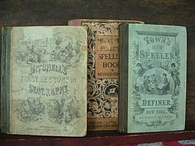 Three Late 1800s Antique New American Primary Speller Geography School Books