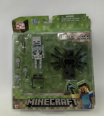 NEW Jazwares Minecraft Overworld Series 2 SPIDER JOCKEY PACK Mob Figures 6- NIP