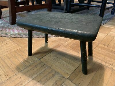 Early 19th Century Wondsor Footstool W 1 Board Plank Top - Green Paint Surface