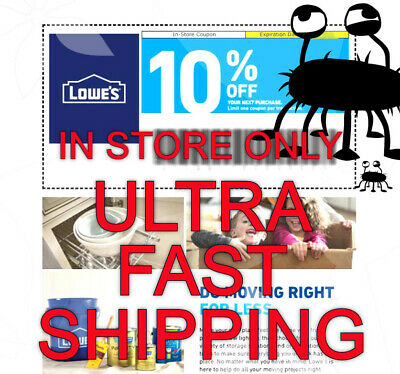 One 1x Lowes 10 Off Coupon - Expires 09-30-20 - Ultra Fast Ship - In Store Only