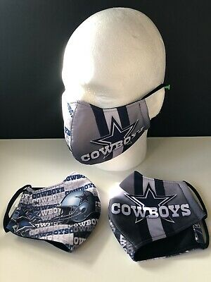 3-Layer-Washable Dallas Cowboys Face Mask w Fabric Filter - Navy Blue Gray