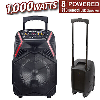 8 1000W Portable Stereos FM Bluetooth Party Speaker Bass Subwoofer PA System