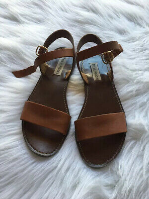 Steve Madden Womens DONDDI Leather Open Toe Casual Slide Tan Leather Size 7-5
