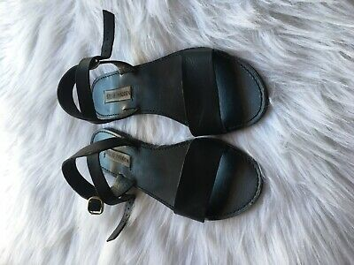Steve Madden Womens DONDDI Leather Open Toe Casual Slide Black Leather Size 8