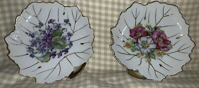 Leaf Shaped Floral 6 X 6 Plates Made In Japan