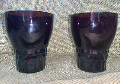 RARE VINTAGE SET Of 2 ANCHOR HOCKING ROYAL RUBY WATER Drink 4 CUPS