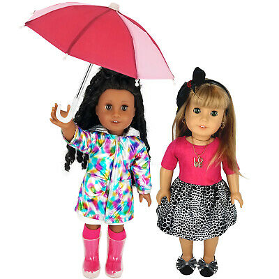 Fits 18 American Girl Doll Clothes -Raincoat Set with Umbrella - Holiday Outfit