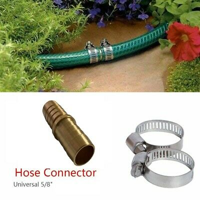 58 Garden Aluminum Mender Repair Kit Water Hose Male Connector barb with clamps