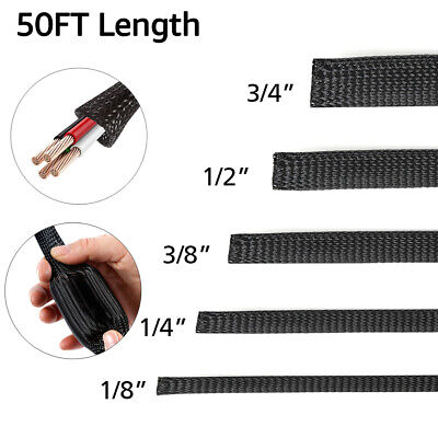 50 PET Expandable Braided Cable Sleeve Sheathing Harness Wire Loom Wrap Conduit