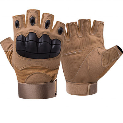 Tactical Hard Knuckle Half Finger Gloves-Army Military Airsoft Work Fingerless