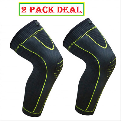 Knee Brace Compression Sleeve Support Sport Joint Injury Pain Relief TWO PACK