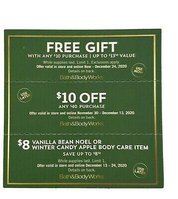 Bath and Body Works Coupons 3 Total