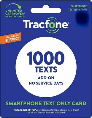 TracFone 1000 Texts Add On Card for SmartPhone - Direct Load
