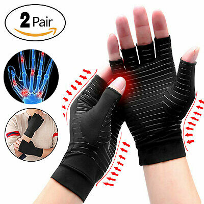 2 Pairs Copper Compression Arthritis Gloves Carpal Tunnel Joint Pain Relief Hand