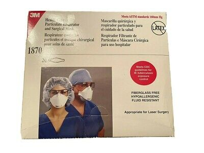 3M 1870 Health Care Particulate Respirator and Surgical Mask N95 Pkg20 Masks