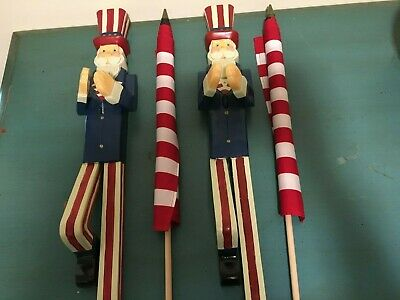 2 Uncle Sam USA Flag Holder Patriotic Fourth of July Decor Wall Mount w Flags