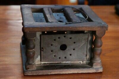 ANTIQUE WOOD AND TIN FOOT WARMER