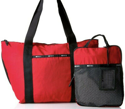 LESPORTSAC RED ON THE GO TOTE - GLOBAL WEEKENDER MSRP 200 NEW NWT NIP