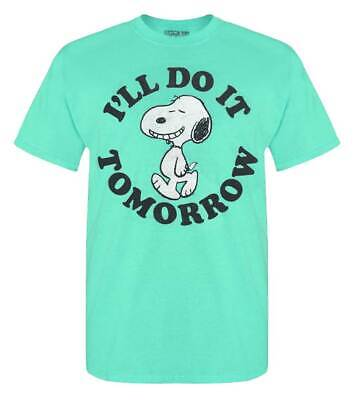 Rex Mens Peanuts Snoopy Short Sleeve Cotton Crew-Neck Graphic T-Shirt - Teal