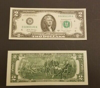 1 Uncirculated Crisp 2017 A Series 2 Note Two Dollar Bill In Protective Sleeve