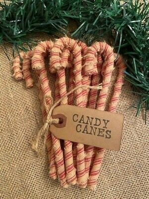 12 Primitive 6 STRIPED HOMESPUN Fabric Candy Canes Christmas Ornaments