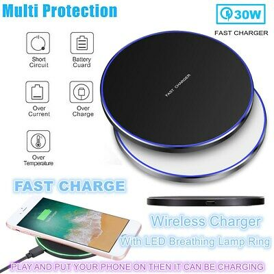 30W Qi Wireless Charger Fast Charging Pad Mat For iPhone 12 Pro Max 11 Pro XS 8