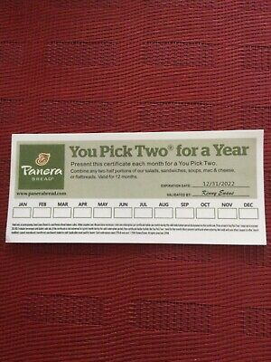 PANERA BREAD GIFT CARD PAPER U PICK TWO FOR A YEAR 123122 Expiration