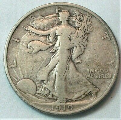 1919-D Key Date USA Liberty Walking Silver Half Dollar in VF Condition  (856)