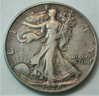 1928-S USA Liberty Walking Silver Half Dollar in XF Condition  (860)