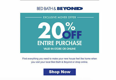 Bed Bath and Beyond  20 Off Entire Purchase 1coupon - expires Long Date  EMAIL