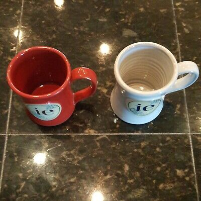 Deneen Pottery Mug Pair  ie  Company Red and White