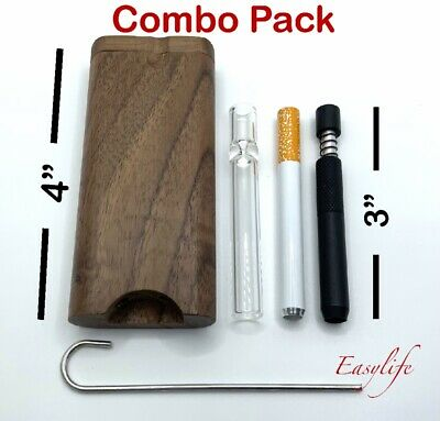 Wood Dugout 4 With 3 Self Cleaning One Hitter 3Glass and 3 Metal One Hitter