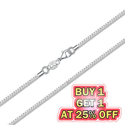 925 Sterling Silver Box Chain Necklace w Lobster Lock Mens Womens 16-24 inch