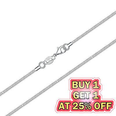 925 Sterling Silver Snake Chain Necklace w Lobster Lock Mens Womens 16-24inch