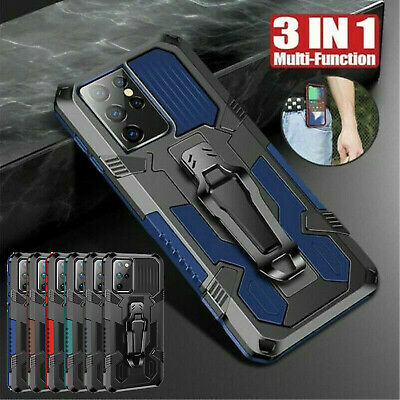 For Samsung S21 S20 Ultra Plus Note 20 10 Hard Armor Case Belt Clip Stand Cover