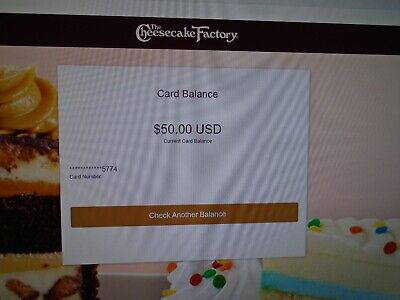 NEW 50 THE CHEESECAKE FACTORY GIFT CARD