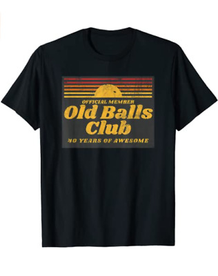 Unisex Cotton Mens Funny 40th Birthday Old Balls Club 40Years of Awesome T-Shirt