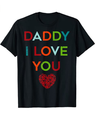 Unisex Cotton I Love Daddy Heart Dad Tee Gift Happy Fathers Day Outfit T-Shirt